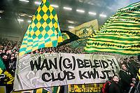DEN HAAG - ADO Den Haag - FC Twente , Voetbal , Seizoen 2015/2016 , Eredivisie , Kyocera Stadion , 04-03-2016 , Wan beleid club kwijt spandoek
