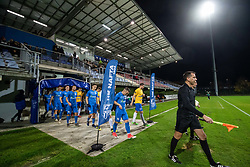Players of both teams entering the pitch before football match between NK Nafta and FC Koper in 19th Round of 2.SNL 2019/20, on November 23, 2019 in Športni park Lendava, Lendava, Slovenia. Photo by Blaž Weindorfer / Sportida