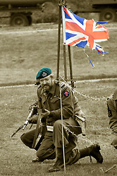reenactors portray members of British Fox Commando Royal Navy during a battle reenactment at Fort Paull nr Hull on Monday.7  May 2012<br />