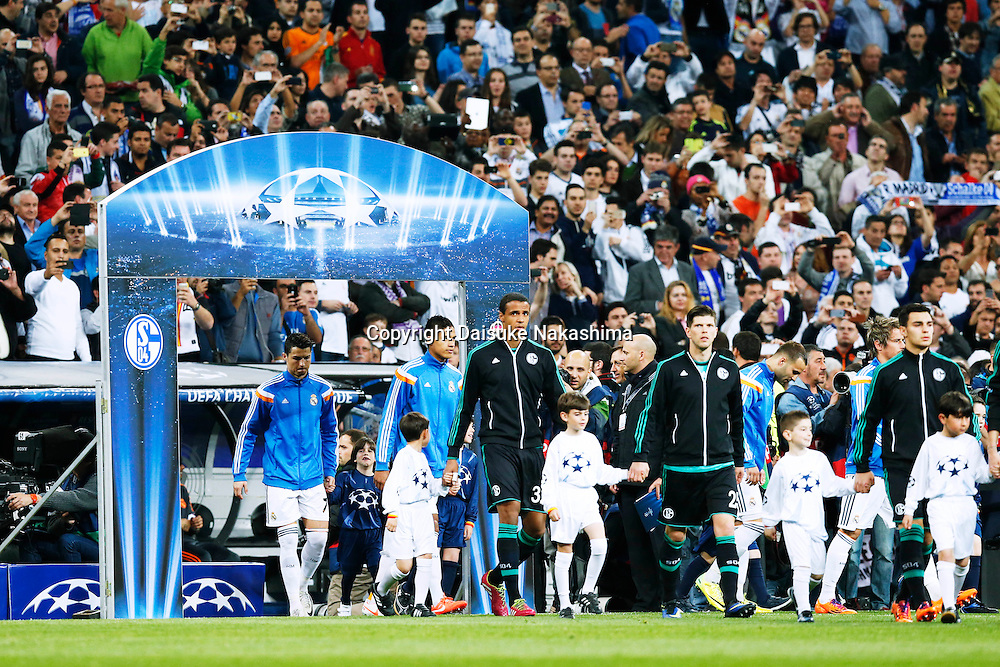 Two team group, MARCH 18, 2014 - Football / Soccer : UEFA Champions League Round of 16, 2nd leg match between Real Madrid 3-1 FC Schalke 04 at Estadio Santiago Bernabeu in Madrid, Spain. (Photo by D.Nakashima/AFLO)