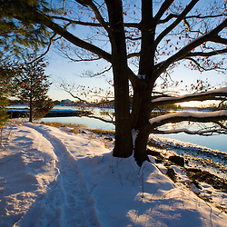 Early morning on the Goose Island Trail in Portsmouth, New Hampshire.  Society for the Protection of New Hampshire Forests' Creek Farm Reservation.  Sagamore Creek. Winter. Tidal Creek.