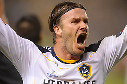 Los Angeles Galaxy's David Beckham cheers after beating the Houston Dynamo 1-0 in the MLS Cup at the Home Depot Center. Los Angeles Galaxy 1-0 over the Dynamo USA, Sunday, Nov. 20. 20011, in Carson, California. Photo by Matt A. Brown/isiphotos.com