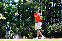 Dan Mullen tees off during the Chick-fil-A Peach Bowl Challenge at the Oconee Golf Course at Reynolds Plantation, Sunday, May 1, 2018, in Greensboro, Georgia. (Paul Abell via Abell Images for Chick-fil-A Peach Bowl Challenge)