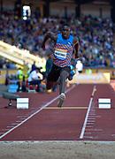 Cuba's Lazaro Martinez leaps in the Triple Jump during the Sainsbury's Birmingham Grand Prix IAAF Diamond League Meeting at Alexandra Stadium, Birmingham, West Midlands, England on June  07  2015. (Steve Flynn/Image of Sport)