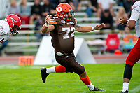 KELOWNA, BC - AUGUST 17:  Robie Holland #72 of Okanagan Sun runs to block against the Westshore Rebels  at the Apple Bowl on August 17, 2019 in Kelowna, Canada. (Photo by Marissa Baecker/Shoot the Breeze)