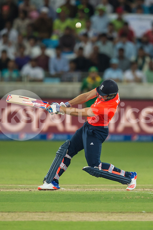 David Willey of England skies one during the 2nd International T20 Series match between Pakistan and England at Dubai International Cricket Stadium, Dubai, UAE on 27 November 2015. Photo by Grant Winter.