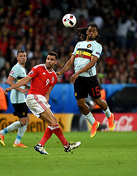 Jason Denayer of Belgium battles for the high ball with, Hal Robson-Kanu of Wales  - Mandatory by-line: Joe Meredith/JMP - 01/07/2016 - FOOTBALL - Stade Pierre Mauroy - Lille, France - Wales v Belgium - UEFA European Championship quarter final