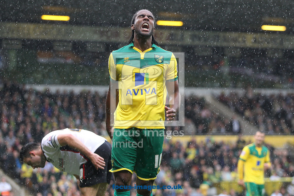 Cameron Jerome of Norwich rues a missed chance during the Sky Bet Championship match at Carrow Road, Norwich<br /> Picture by Paul Chesterton/Focus Images Ltd +44 7904 640267<br /> 04/10/2014