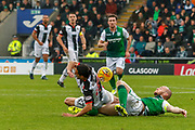 Ryan Edwards of St Mirren gets fouled by David Gray of Hibernian FC during the Ladbrokes Scottish Premiership match between St Mirren and Hibernian at the Simple Digital Arena, Paisley, Scotland on 29th September 2018.