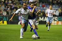 Photo: Pete Lorence.<br />Leicester City v Aston Villa. Carling Cup. 24/10/2006.<br />Villa's Gabriel Agbonlahor and Leicester's Andy Welsh battle for the ball.
