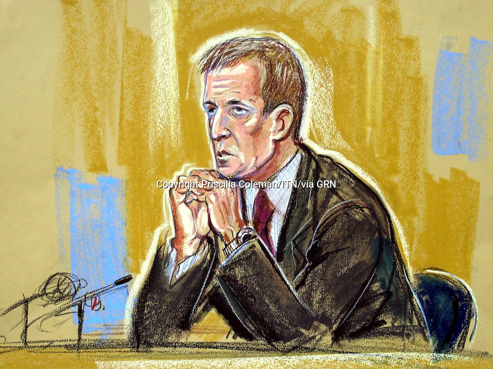 ©PRISCILLA COLEMAN ITV NEWS 19.08.03.SUPPLIED BY: PHOTONEWS SERVICE LTD OLD BAILEY.PIC SHOWS: ALASTAIR CAMPBELL, DURING QUESTIONING. CAMPBELL APPEARED AT THE HIGH COURT TODAY TO GIVE EVIDENCE IN THE INQUIRY INTO THE DEATH OF DR DAVID KELLY-SEE STORY.ILLUSTRATION: PRISCILLA COLEMAN ITV NEWS