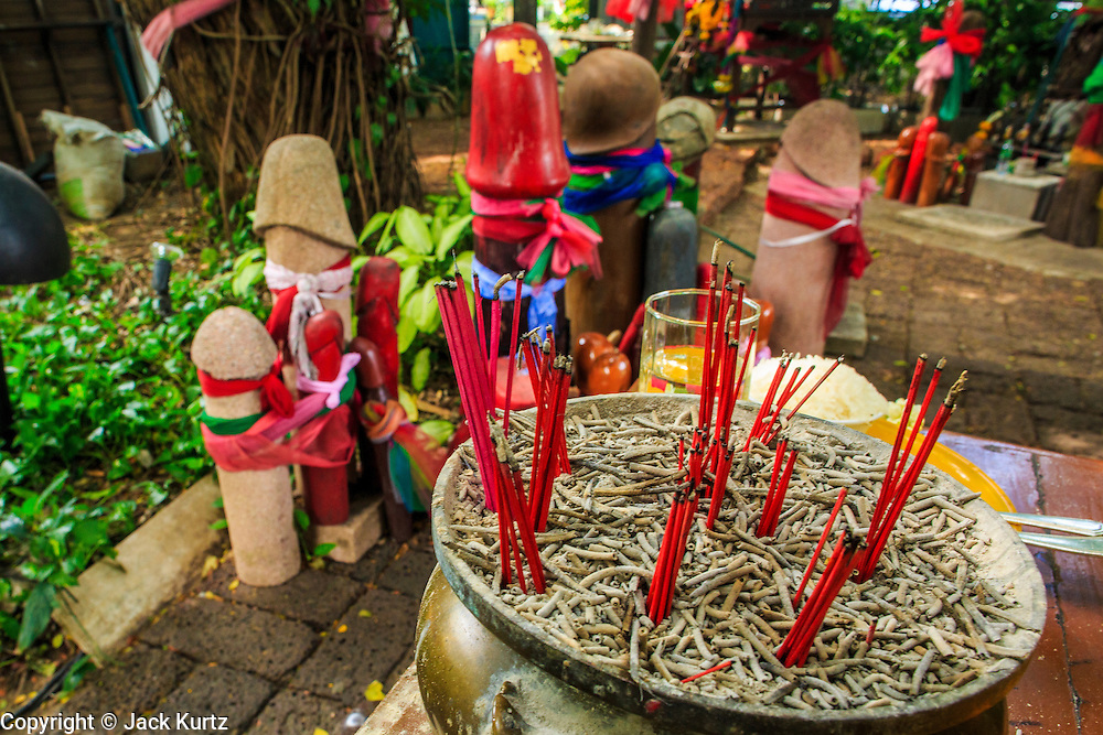 04 JANUARY 2012 - BANGKOK, THAILAND:  Penis statues behind incense at the Lingam Shrine in Bangkok. The Lingam Shrine is a phallus garden behind the Swissotel Nai Lert Park Hotel, an exclusive 5 star hotel in Bangkok. Clusters of carved stone and wooden shafts surround a spirit house and shrine built by a Bangkok millionaire to honour Jao Mae Thap Thim, a female deity thought to reside in a banyan tree on the site. According to Bangkok legend, a woman who made an offering at the shrine had a baby after praying at the shrine, and it has received a steady stream of worshippers ever since.   PHOTO BY JACK KURTZ