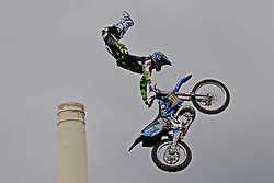 13.08.2010, Battersea Power Station, London, ENG, Red Bull X Fighters, im Bild André Villa  (ESP) in action during a training session for the London stage of The Red Bull X-Fighters freestlye Motorcycle Cross Tournament. EXPA Pictures © 2010, PhotoCredit: EXPA/ M. Gunn