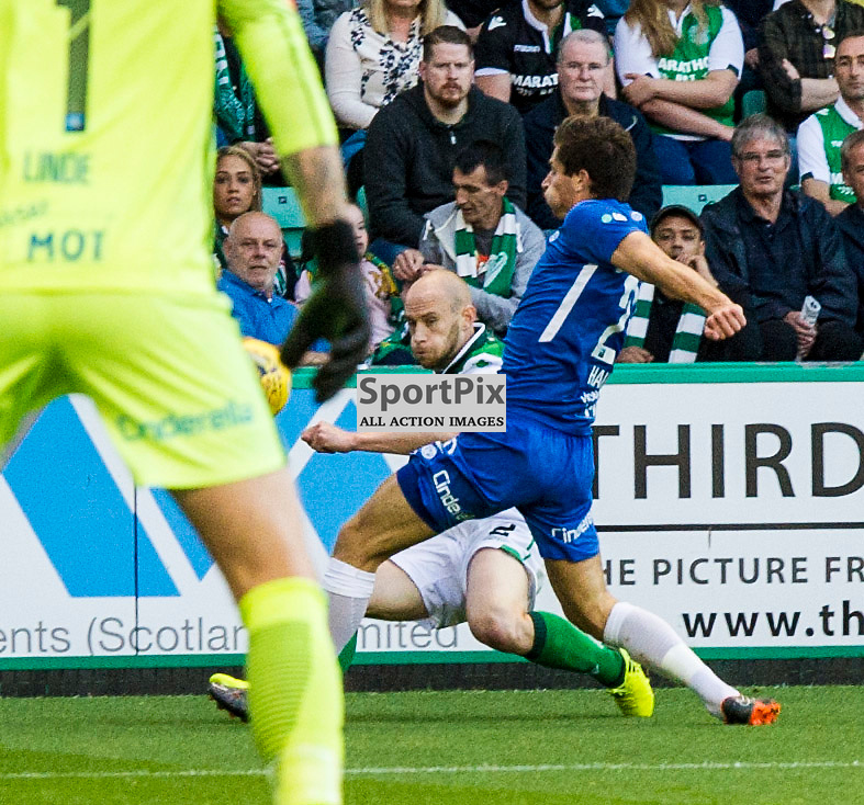 Pictured: David Gray show the determination to get his cross in<br /> <br /> Hibs welcomed Molde to Easter Road for their second home game of the Europa League campaign