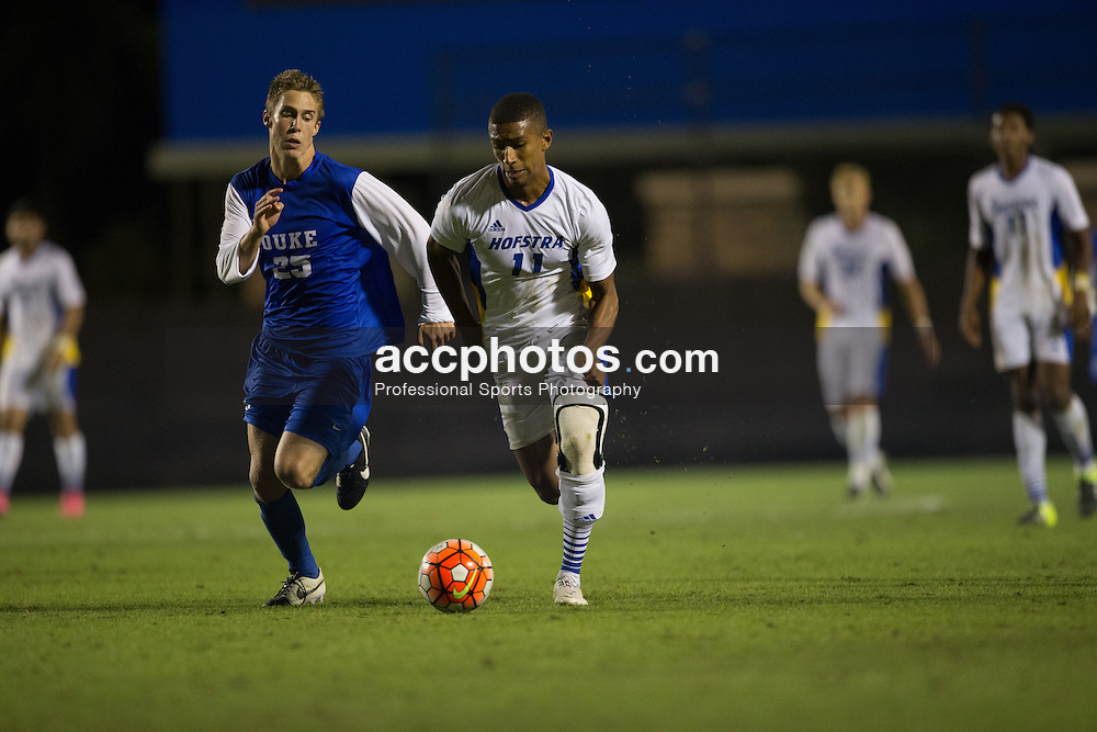 2015 October 05: Danny Elliott #11 of the Hofstra Pride during a 3-2 overtime loss to the Duke Blue Devils at Koskinen Stadium in Durham, NC.