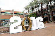 Jan 8, 2016; Scottsdale, AZ, USA; The College Football Playoff National Championship logo at the main entrance of the Hyatt Regency Scottsdale Resort at Gainey Ranch. Mandatory Credit: Jennifer Stewart-USA TODAY Sports