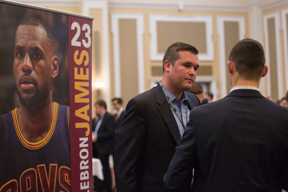 Jordan Cannon, the Manager of Organizational Business Development for the Cleveland Cavaliers, speaks with College of Business students at the Career Fair in Baker Ballroom on October 13, 2016.