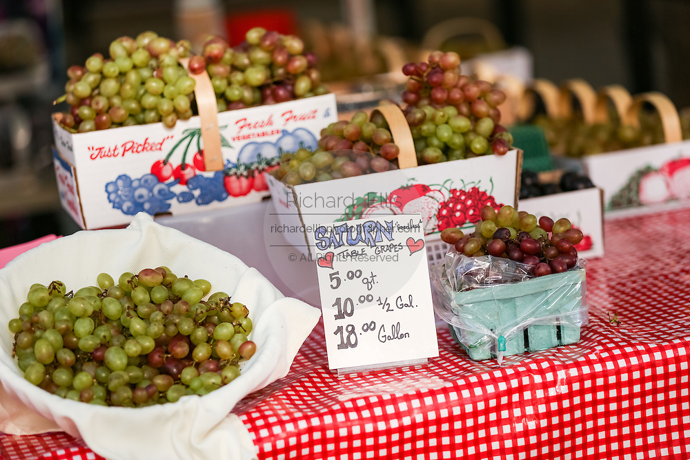 Locally grown table grapes on display at the Farmers Market along Main Street in downtown Greenville, South Carolina.