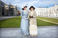RTE Presenters Anne Cassin and Mary Kenedy dress in vintage style as part of the RTE Reflecting The Rising Event .<br />