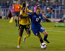 October 12, 2018 - Edinburgh, Scotland, United Kingdom - Edinburg, NC - OCTOBER 11: 2018.Dianelis Carbonell of Cuba (Blue).During CONCACAF Women's Championship Group B match between Cuba against Jamaica at H-E-BPark Stadium, Edinburg,  on October 11, 2018  (Credit Image: © Action Foto Sport/NurPhoto via ZUMA Press)