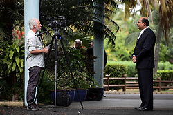 MAURITIUS 6MAY13 - Australian SBS Journalist David O'Shea interviews Mr Rondolph Payet, executive secretary of the IOTC before the meeting in Grand Baie, Mauritius.<br /> <br /> <br /> <br /> The Greenpeace ship Esperanza is on patrol in the Indian Ocean documenting fishing activties.<br /> <br /> <br /> <br /> jre/Photo by Jiri Rezac / Greenpeace