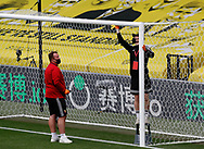 The crossbar is disinfected before the Premier League match at Vicarage Road, Watford. Picture date: 20th June 2020. Picture credit should read: Darren Staples/Sportimage