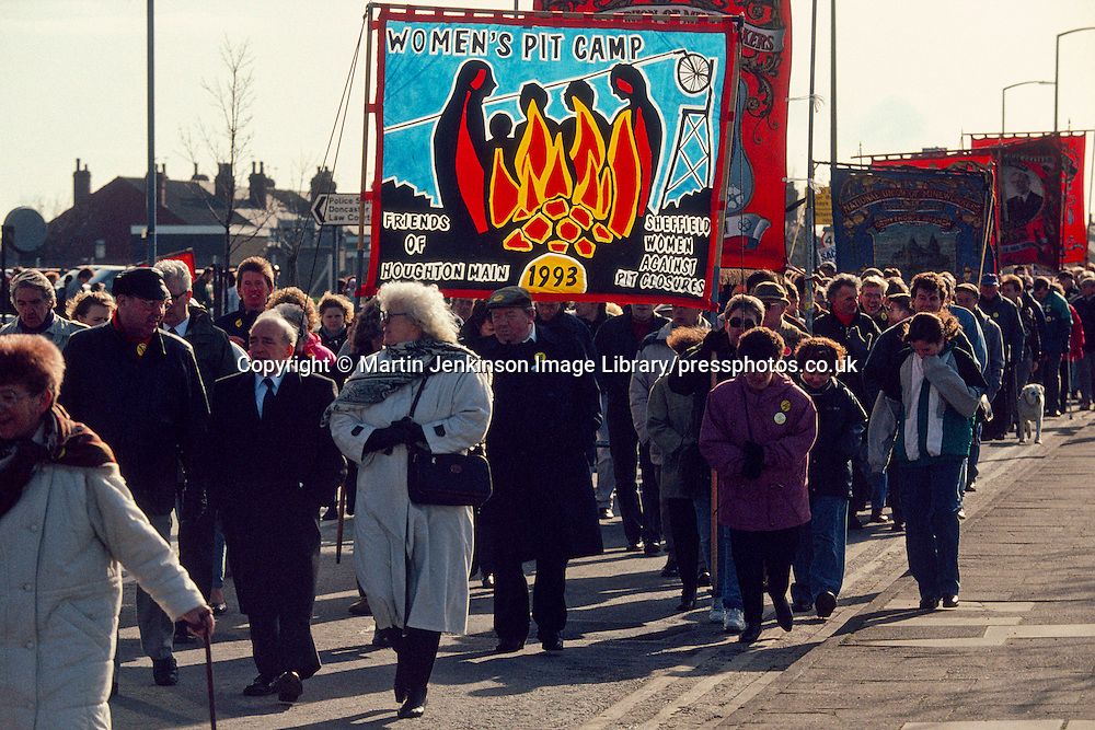 Women's Pit Camp banner on the NUM 'No Pit Closures' march . Doncaster. 27/02/1993.