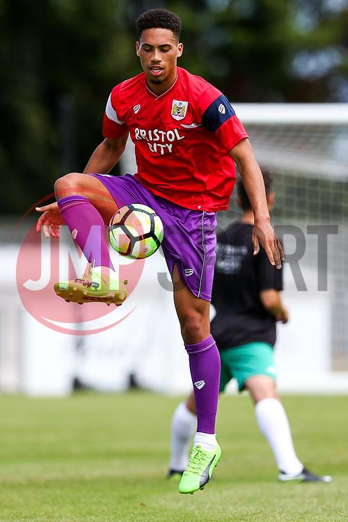 Zak Vyner of Bristol City of Bristol City of Bristol City warms up - Rogan/JMP - 08/07/2017 - Footes Lane - Guernsey - Guernsey FC v Bristol City - Pre-season Friendly.