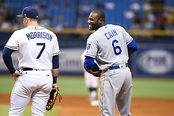 May 9, 2017 - St. Petersburg, Florida, U.S. - WILL VRAGOVIC   |   Times.Kansas City Royals center fielder Lorenzo Cain (6) laughs towards the Tampa Bay Rays dugout from first base during the sixth inning of the game between the Kansas City Royals and the Tampa Bay Rays at Tropicana Field in St. Petersburg, Fla. on Tuesday, May 9, 2017. (Credit Image: © Will Vragovic/Tampa Bay Times via ZUMA Wire)