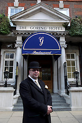 21 April 2011. London, England..'Rupert,' one of the doormen at the Goring Hotel, where the Middleton family will be staying in the run up to the Royal Wedding near Buckingham Palace..Photo; Charlie Varley.