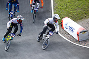 BMX Finals, Kye Whyte (Great Britain), Sylvain Andre (France) during the Cycling European Championships Glasgow 2018, at Glasgow BMX Centre, in Glasgow, Great Britain, Day 9, on August 10, 2018 - Photo luca Bettini / BettiniPhoto / ProSportsImages / DPPI<br /> - Restriction / Netherlands out, Belgium out, Spain out, Italy out -