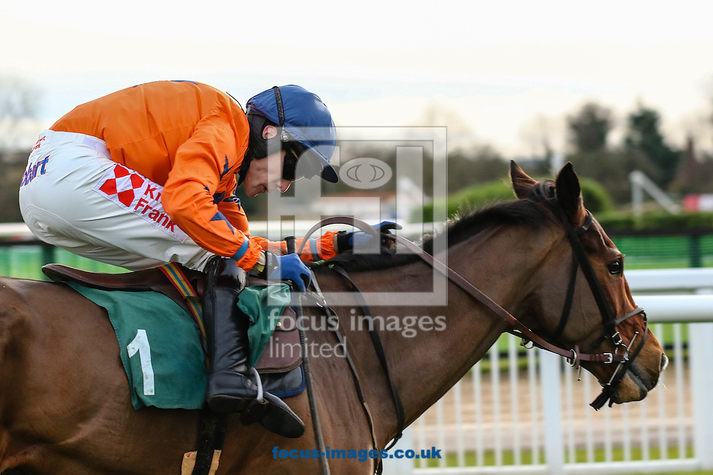 Tom Scudamore on Kings Palace wins the Ryman Stationery Cheltenham Business Club Novices&acute; Chase on the Friday of the International Meeting at Cheltenham Racecourse, Cheltenham<br /> Picture by Mark Chappell/Focus Images Ltd +44 77927 63340<br /> 12/12/2014