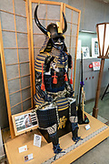 "The o-yoroi (""great armor"") was early Japanese armor worn by the samurai class of feudal Japan. Kyoto Museum of Traditional Crafts (or Fureaikan), in the Miyako Messe building, Sakyo Ward, Kyoto, Japan."