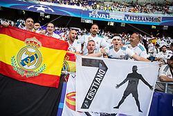 Supporters of Real Madrid and Cristiano Ronaldo during the UEFA Champions League final football match between Liverpool and Real Madrid at the Olympic Stadium in Kiev, Ukraine on May 26, 2018.Photo by Sandi Fiser / Sportida