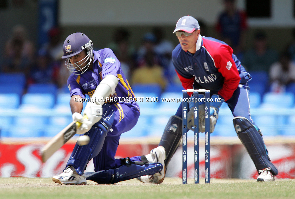 Mahela Jayawardene sweeps during the Super 8 Cricket World Cup match, England v Sri Lanka at the Sir Vivian Richards Cricket Ground in Antigua, West Indies on Wednesday 4 April 2007. Sri Lanka batted first and scored 235. &quot;NO AGENTS&quot; Photo: Andrew Cornaga/Photosport.<br /> <br /> <br /> 040407