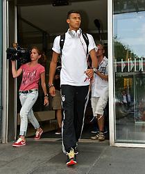 01.08.2014, Flughafen, Bremen, GER, 1. FBL, SV Werder Bremen, Ankunft Trainingslager, im Bild Davie Selke (SV Werder Bremen II #11) bei der Ankunft // during the arrivel to the trainingsgelände of the german bunsdesliga club SV Werder Bremen at the Flughafen in Bremen, Germany on 2014/08/01. EXPA Pictures © 2014, PhotoCredit: EXPA/ Andreas Gumz<br /> <br /> *****ATTENTION - OUT of GER*****