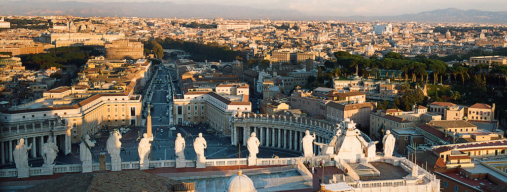 A Panoramic view of Rome and St.Peter's Square from the top of St. Peter's Basilica, Vatican City, Rome, Italy. 23rd July 2011. Photo Tim Clayton