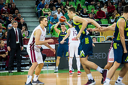Matic Rebec of Slovenia  and Arnis Vecvagars of Latvia during basketball match between National teams of Slovenia and Latvia in Round #10 of FIBA Basketball World Cup 2019 European Qualifiers, on December 2, 2018 in Arena Stozice, Ljubljana, Slovenia. Photo by Grega Valancic