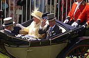 Prince of Wales, Prince Michael of Kent, the Queen and Prince Philip, Ascot, Tuesday 15 June 2004. ONE TIME USE ONLY - DO NOT ARCHIVE  © Copyright Photograph by Dafydd Jones 66 Stockwell Park Rd. London SW9 0DA Tel 020 7733 0108 www.dafjones.com