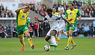 Wilfried Bony of Swansea City is challenged by Ryan Bennett of Norwich City.<br /> Barclays premier league match , Swansea city v Norwich city at the Liberty stadium in Swansea, South Wales on Saturday 29th March 2014.<br /> pic by Phil Rees, Andrew Orchard sports photography.