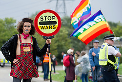 September 7, 2017 - London, United Kingdom - Protestors take part in a demonstration against Britain's biggest arms fair, The biennial Defence and Security Equipment International (DSEI), at the ExCeL Centre in Docklands, London. The demonstration, co-organised by Global Justice Now, is part of the Stop the Arms Fair Week of Action.(Credit Image: © David Mirzoeff/i-Images via ZUMA Press)