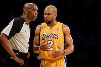 27 April 2010: Guard Derek Fisher of the Los Angeles Lakers argues a call with NBA official Leon Wood while playing against the Oklahoma Thunder during the first half of the Lakers 111-87 victory over the Thunder during game 5 of the first round of the NBA Playoffs at the STAPLES Center in Los Angeles, CA.