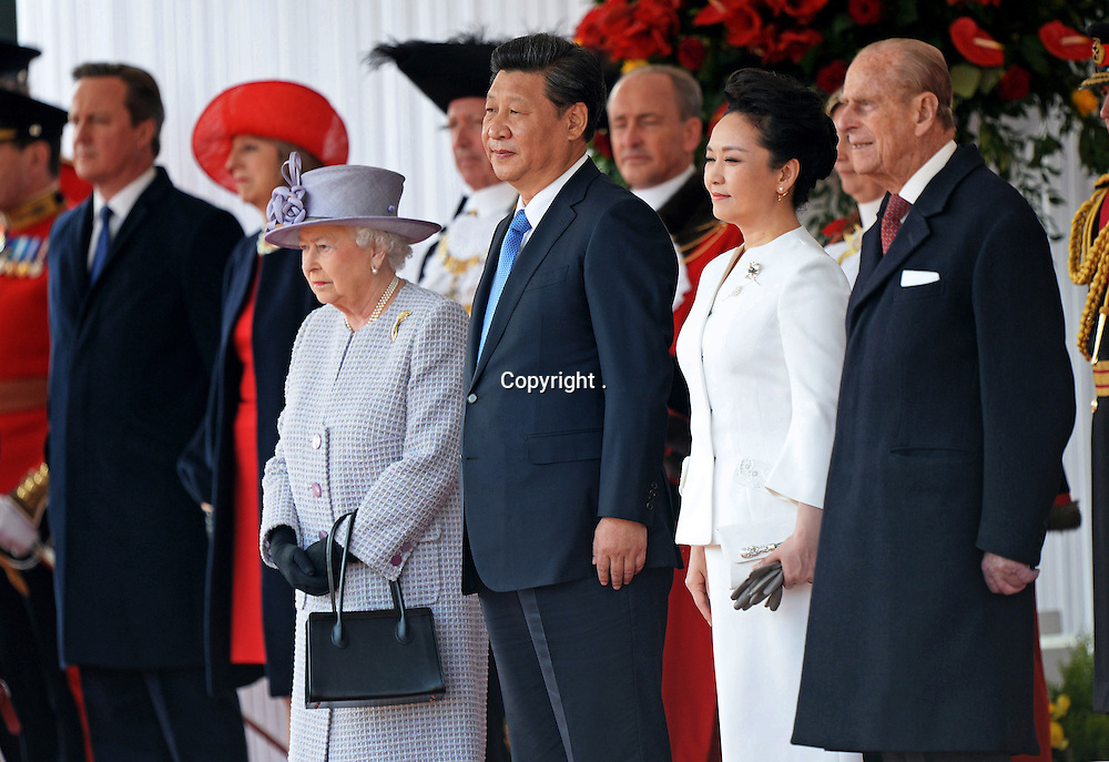 20.10.2015; London, England: QUEEN ELIZABETH GIVES PRESIDENT XI JINPING ROYAL WELCOME<br />The Duke of Edinburgh, Prince Charles and Camilla,Duchess of Cornwall were present at the ceremonial welcome for the President of The People&rsquo;s Republic of China Xi Jinping and Madame Peng Liyuan.<br />Mandatory Credit Photo: &copy;MoD/NEWSPIX INTERNATIONAL<br /><br />IMMEDIATE CONFIRMATION OF USAGE REQUIRED:<br />Newspix International, 31 Chinnery Hill, Bishop's Stortford, ENGLAND CM23 3PS<br />Tel:+441279 324672  ; Fax: +441279656877<br />Mobile:  07775681153<br />e-mail: info@newspixinternational.co.uk<br />*All fees payable to Newspix International*