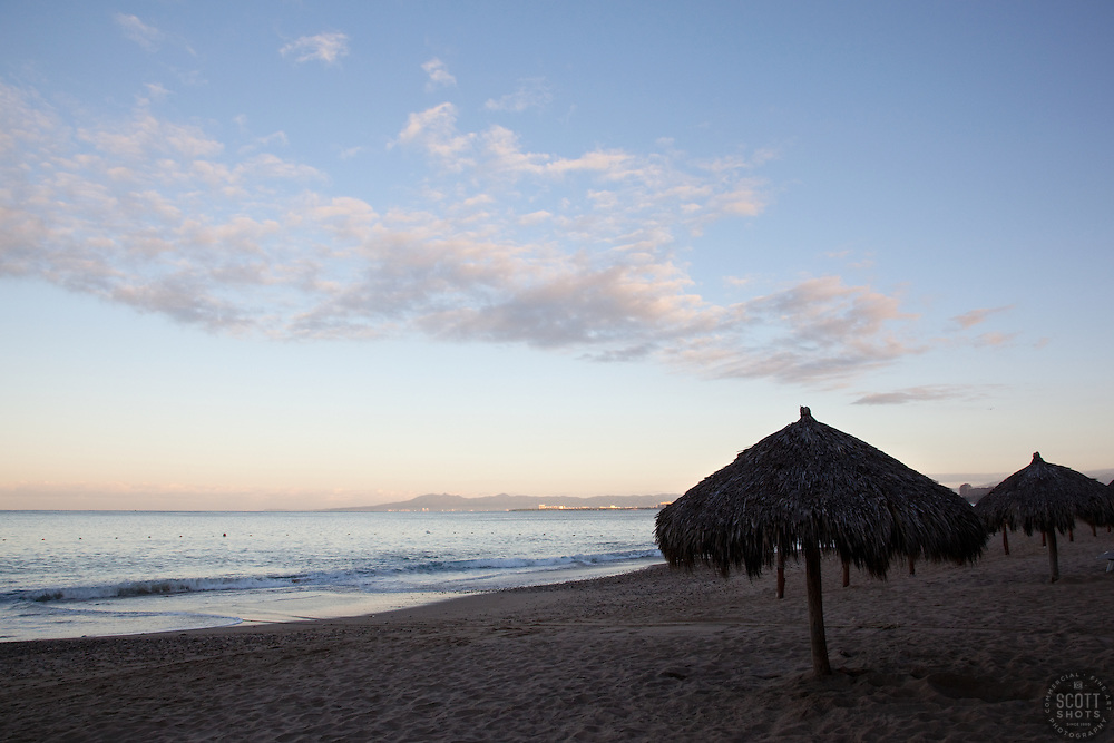"""Palapa in Puerto Vallarta"" - These palapas were photographed at sunrise in Puerto Vallarta, Mexico."
