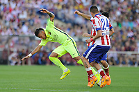 Atletico de Madrid´s Gimenez and FC Barcelona´s Neymar da Silva during 2014-15 La Liga match between Atletico de Madrid and FC Barcelona at Vicente Calderon stadium in Madrid, Spain. May 17, 2015. (ALTERPHOTOS/Luis Fernandez)