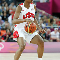 11 August 2012: USA Angel McCoughtry dribbles during 86-50 Team USA victory over Team France, during the Women's Gold Medal Game, at the North Greenwich Arena, in London, Great Britain.