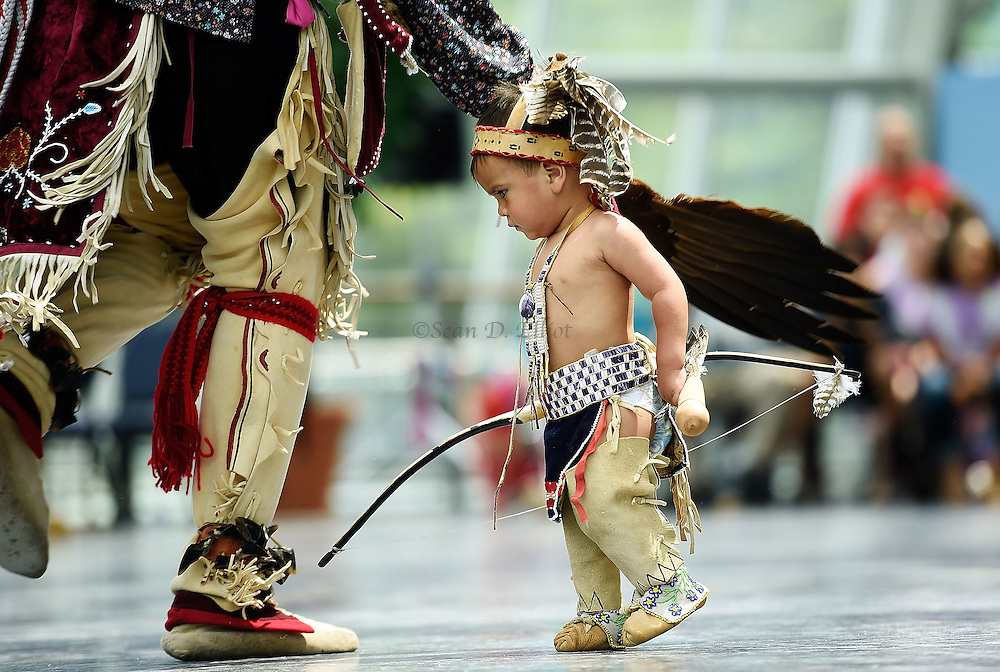 7/7/16 :: REGION :: STAND ALONE :: Sowaniu Spears, 18-months, joins his father Cassius Spears, left, on the dance floor for the Eastern War Dance exhibition during the annual Educational Powwow at the Mashantucket Pequot Museum and Research Center Thursday, July 7, 2016. The Educational Powwow is a narrated exhibition showcasing Native American dancers and the significance of this cultural gathering for indigenous people. The event was free with museum admission. Eastern woodland cuisine was offered in the restaurant and native artists were set up demonstrating and selling their crafts. (Sean D. Elliot/The Day)