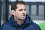 York City Manager Jackie McNamara  during the Sky Bet League 2 match between Cambridge United and York City at the R Costings Abbey Stadium, Cambridge, England on 20 February 2016. Photo by Simon Davies.
