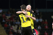 Burton Albion forward Liam Boyce (27) scores his second goal of the game and celebrates withBurton Albion forward Oliver Sarkic (17) 2-0 during the EFL Cup match between Burton Albion and Morecambe at the Pirelli Stadium, Burton upon Trent, England on 27 August 2019.