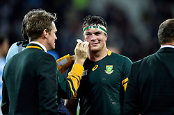 Francois Louw of South Africa is patched up after the match - Mandatory byline: Patrick Khachfe/JMP - 07966 386802 - 30/10/2015 - RUGBY UNION - The Stadium, Queen Elizabeth Olympic Park - London, England - South Africa v Argentina - Rugby World Cup 2015 Bronze Final.